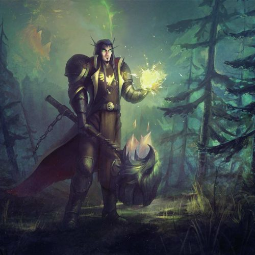 wow, world of warcraft, paladin, bloodelf, crackling spell, battle mace, forest, digital portrait, fantasy portrait, painting hand painted