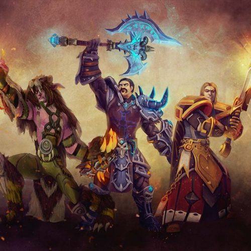 portfolio, group portrait, druid, death knight, paladin, human character, night elf character, digital painting, we fight together, anniversary portrait, mmo rpg character, friends playing together