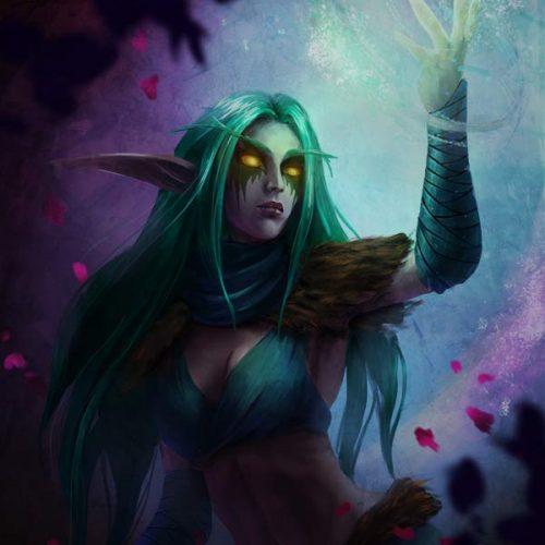 portfolio, night elf, druid, wow, world of warcraft, fantasy portrait, spellcasting, sorcerer, mage, long hair, golden eyes, digital painting, fantasy portrait