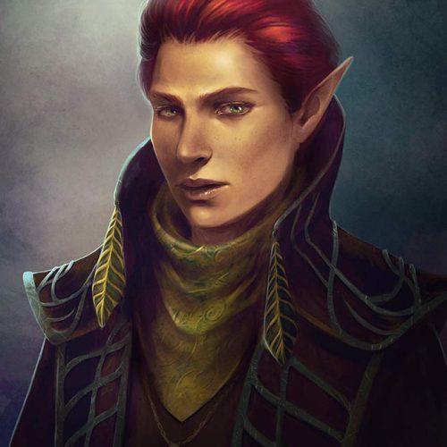 portfolio, elf, red hair, male portrait, elegant outfit, classic bust portrait, digital painting, hand painted fantasy,