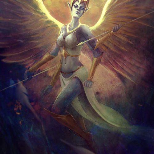 portfolio, martian, goddess of war, four hands, wings, victorious, fantasy portrait, comic book cover, cover art, illustration,