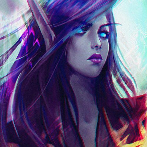 portfolio, blood elf, sketch, female character, blue hair, blue eyes, void elf, long hair, speedpainting, fantasy character, sketching, drawing, hand painted