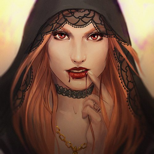 portfolio, vampire, blood, redhead, red hair, sketch, speedpainting, red eyes, female character, portrait, fantasy, blooded lips, red lips, dripping blood, hand painted
