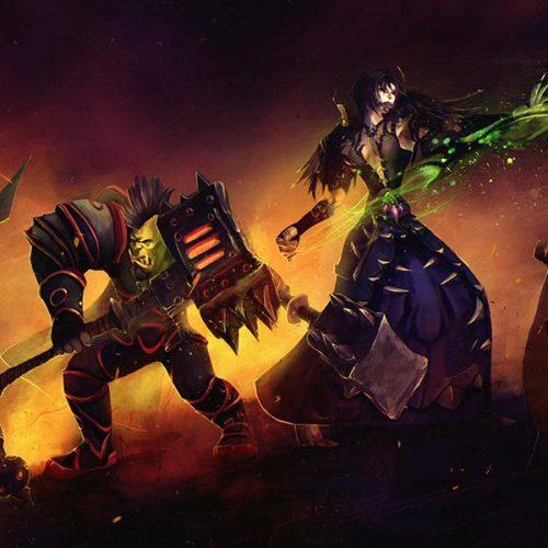 portfolio, horde, battle, orc, undead, warrior, warlock, doom bold, battlefield, wow, world of warcraft, couple portrait, valentines, gamer character, digital painting, hand painted