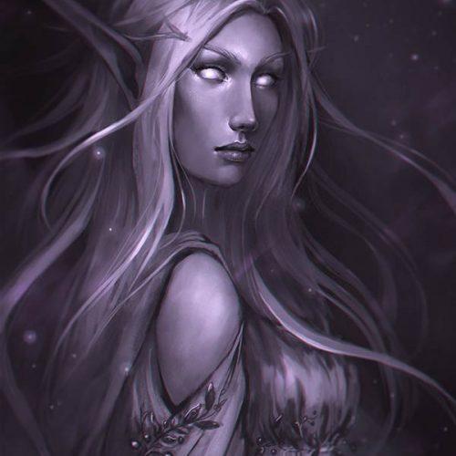 portfolio, night elf, wow, world of warcraft, digital painting, fantasy portrait, monochrome, hand painted, long hair, queen, elegant dress, elven