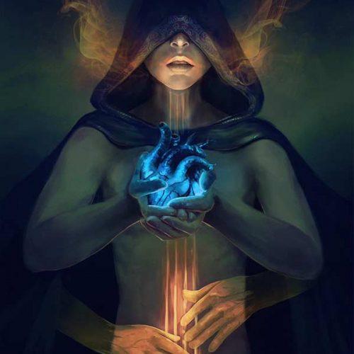 portfolio, heart, dark magic, blood magic, hooded character, fantasy portrait, digital painting, book cover, sorcerer, priest, dark ritual, spellcasting, digital portrait,