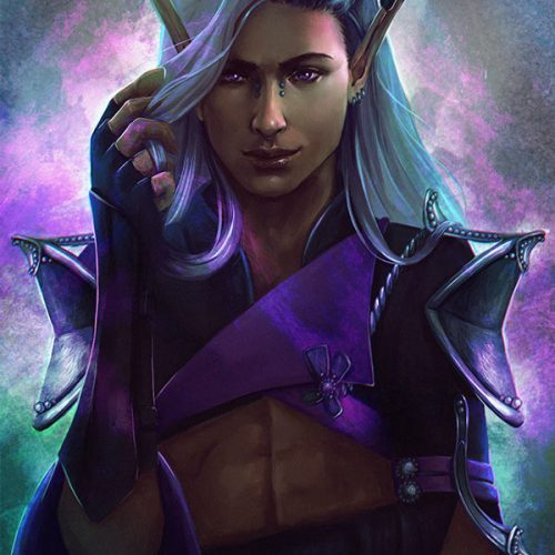 portfolio, sorcerer, elf, long white hair, piercings, pierced, armour, revealing, sexy, male character, digital painting, hand painted, fantasy portrait, braided hair, cloth armour,