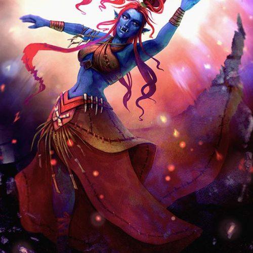 portfolio, troll, blue skin, dancing, shaman, shamaness, wow, world of warcraft, digital painting, hand painted, red hair, pink hair, long hair, tribal, zandalari, troll shamaness, spellcaster, wild dance, tusks, fantasy, character portrait