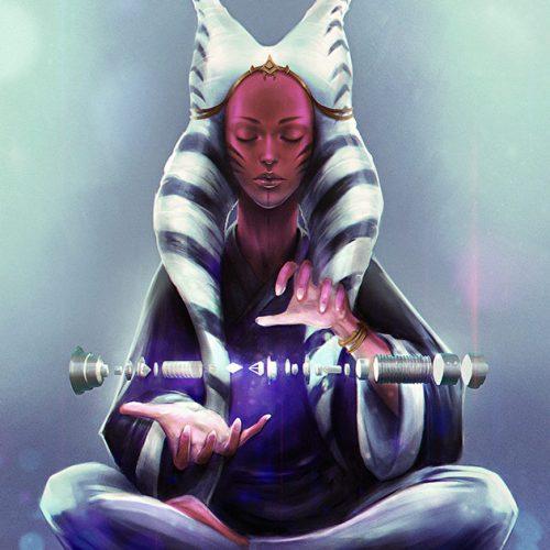 portfolio, star wars portrait, togruta, lightsaber, meditation, digital portrait, one with the force,
