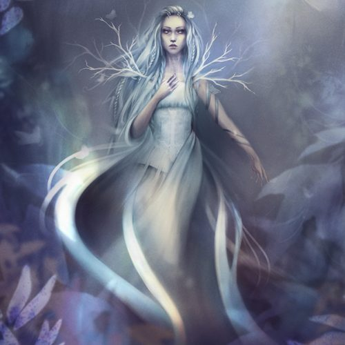 winter witch, white witch, sorceress, female character, witch of the forest, winter, cold, snow queen, owl pet, digital painting, character portrait, outfit design