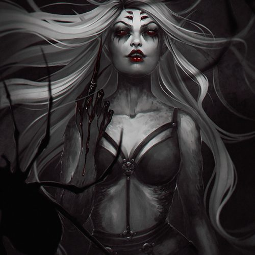 portfolio, spider queen, anthro, anthropomorphic, sexy, bdsm, long hair, white hair, gothic, goth character, blood, sexy, dominatrix, spiders, arachne, digital portrait, painting, hand painted
