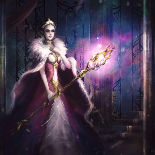 regal, magic, fur, dress, queen sorceress, female character, witch, evil queen, digital painting, character portrait, outfit design
