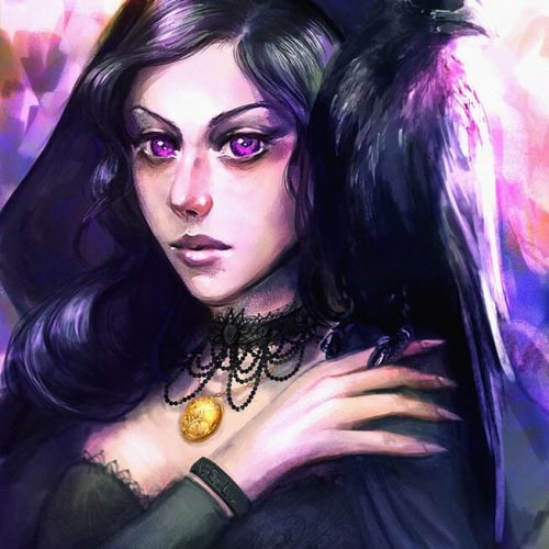 portfolio, witch, crow, black hair, gothic girl, goth, violet eyes, yennefer, hooded character, sketch, speedpainting, warlock, sorceress, fantasy character,