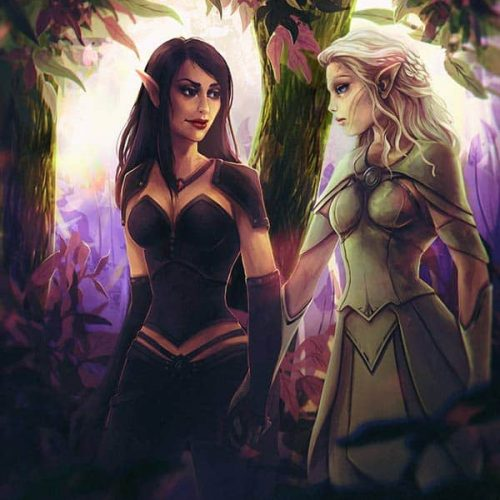 portfolio, adventure, wallpaper, woods, forest, digirtal portrait, couple, happy couple, lovers elves illustration, digital painting, wow, world of warcraft, paladin, priest, magic, character painting, portrait, fantasy, character portrait, elf,bloodelf,