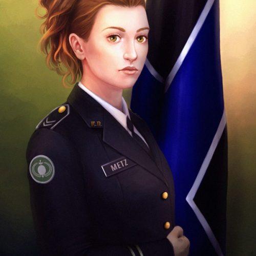 digital portrait, red hair, long hair, portrait, military, badass woman, outfit, fantasy character, official portrait, flag, mundur,