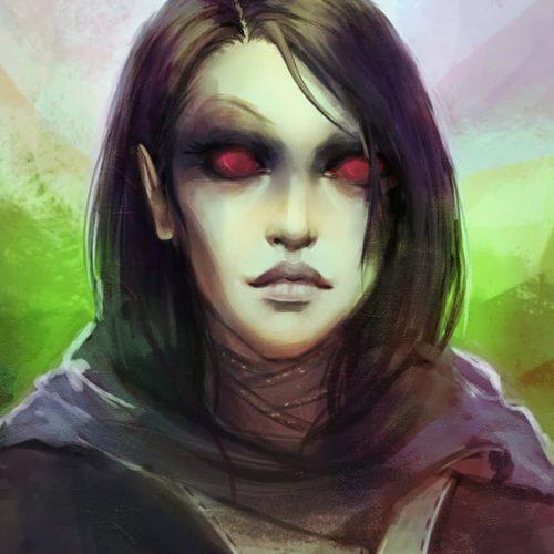 elder scrolls, eso, dark character, portrait, female, elf, red eyes, sketch, speedpainting, digital painting,