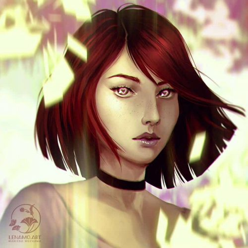 portrait, sketch, speed painting, girl, shorthair, red hair, hearts, young woman, fantasy portrait, charater sketch
