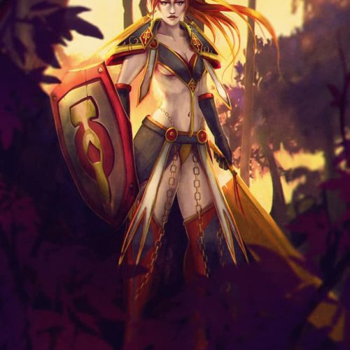 portfolio, paladin retribution, wow, world of warcraft, shield, shield maiden, female human, redhead, badass woman, orange hair, forest, sexy outfit, character design, fantasy character,
