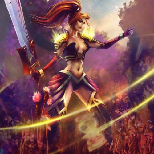 paladin retribution, wow, world of warcraft, shield, shield maiden, female human, redhead, badass woman, orange hair, forest, sexy outfit, character design, fantasy character,