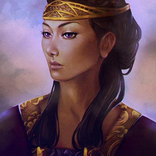 regal, queen, portrait, woman, long hair, aristocrat, digital painting, character portrait, sketch, digital sketch, speedpainting, violet eyes, golden, jewellry