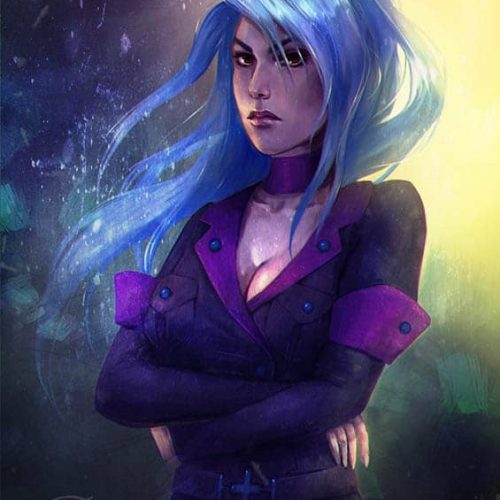 sketch, digital portrait, blue hair, long hair, portrait, military, angry girl, badass woman, outfit, fantasy character, game character