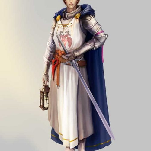 character sketch, character design, outfit design, knight, paladin, tabard, fantasy knight, young man, digital portrait,