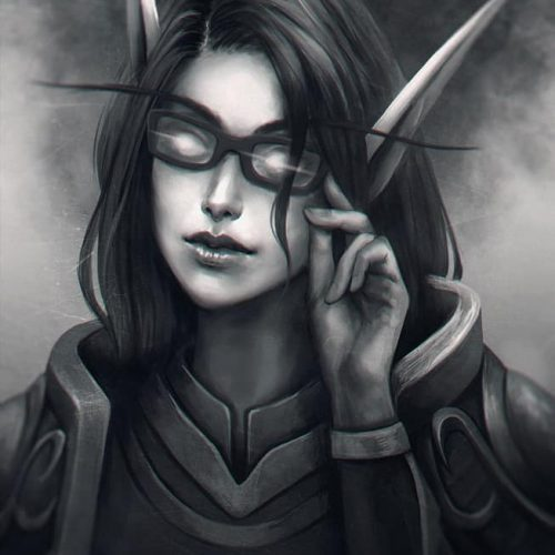 adventure, wallpaper, black and white, graysscale, monochrome, illustration, digital painting, wow, world of warcraft, paladin, priest, magic, character painting, portrait, fantasy, character portrait, elf, bloodelf,