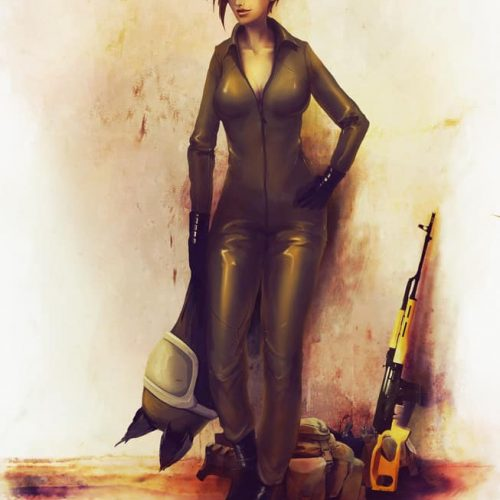 military outfit, soldier, sniper, female warrior, helmet, military gear, character portrait, character sheet, badass woman, digital painting