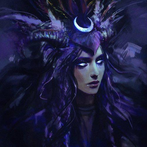 portfolio, lunar goddess selene lenamo marlena mozgawa enchantress moon wallpaper desktop, 1920x1080, headdress, white eyes, blue, speedpaint, portrait, digital portrait, headshot, female, enchantress, witch