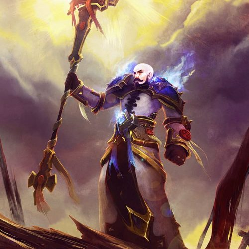 portfolio, priest, epic, spell, battle, mage, holy spell, sunlight, after battle, bright sky, human, alliance, bald, armour, holy book, wow, world of warcraft, battlemage, cleric, paladin