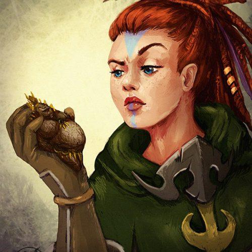 portfolio, dwarf, female, redhead, dreads, dread hair, archeology, sketch, portrait, character art, wow, world of warcraft, fanart fan art, face paint,