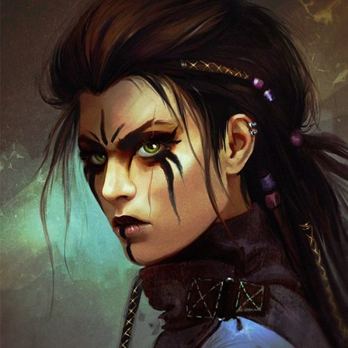 portfolio, Valkyrie cover image, bookcover, rebel, postapocalyptic, cyberpunk, punk, tribe, tribal, woman, messy hair, portraits, face paint, dark make up, character art, fantasy, dystopian