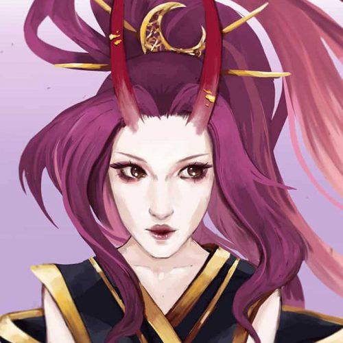 portfolio, demon, female, pink hair, long hair, horns, asian demons, kimono, moon, goddess, portrait, character art, pale skin, golden jewellery
