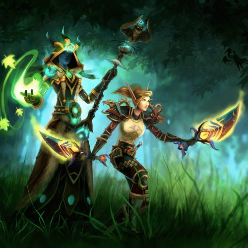 portfolio, rogue, druid, adventure, wallpaper, forest, illustration, digital painting, wow, world of warcraft, mists of pandaria, jade forest, epic battle,character painting, portrait, fantasy