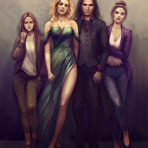 group portrait, illustration, best friends, character art, standing portrait, young people, character design, character sheet,fantasy, vampires,