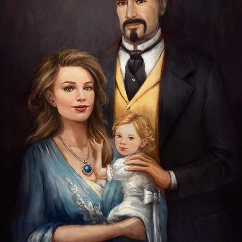 portfolio, anniversay portrait, family portrait, couple, classic portrait, digital art, illustration, family with child, mother, father, daughter, digital painting,