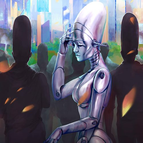 portfolio, android, robot, city, martians comic, confused, crowd, lost, futuristic, cyberpunk, illustration, cover image, bookcover, character art