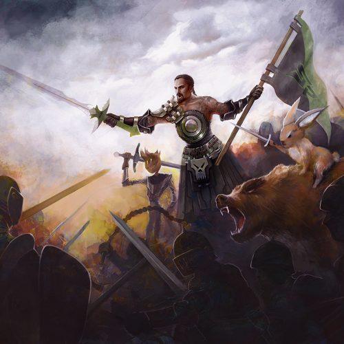 portfolio, fantasy, battle, illustration, skar, skar productions, leader, bear, fight, duel, horde, soldiers, illustration, portrait, fanart,