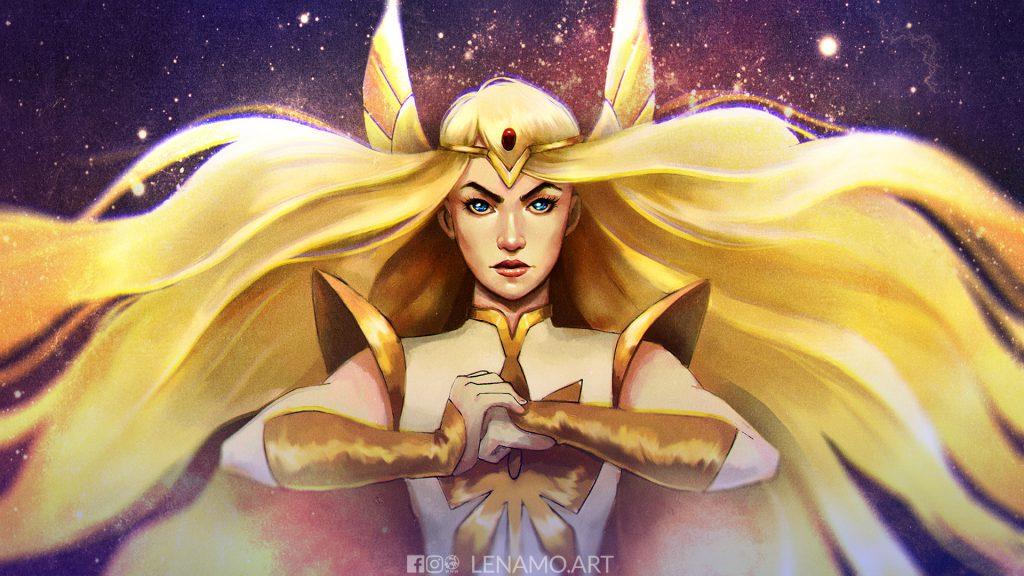 she-ra fanart wallpaper desktop shera superhero blond hair, cartoon, long hair, goddess, warrior, stars, fan art