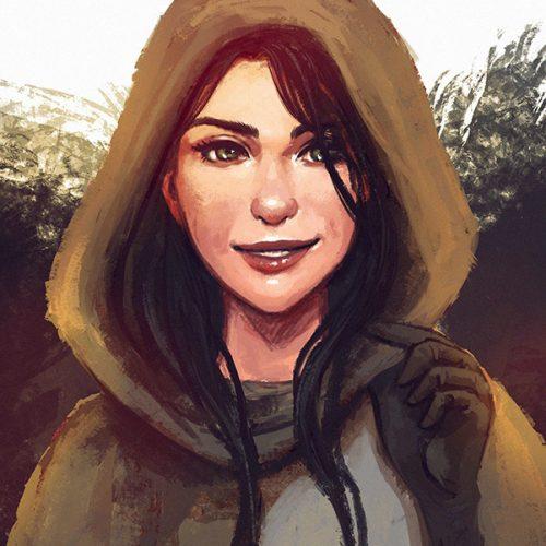 portfolio, Sketch portrait of fantasy character Aliah, world of warcraft, wow, urchin, brownhood, digital portrait, speedpainting, glowes, girl, smiling, woman, black hair,