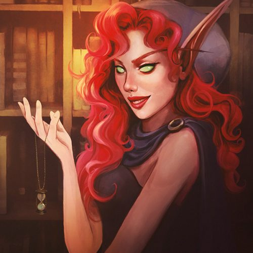 redhead, red hair, bloodelf, elf, blood elf, wow, world of warcraft, greeneyes, hood, treasure hunter, necklace, fan art, fantasy character, digital painting, portrait, sexy female character, curly hair