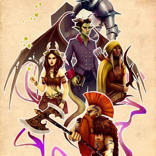 rpg group, teammates, portrait, mmo, warhammer slayer, dwarf, elf, hunter, druid, dragonkin, demon, wined demon, digital painting, drawing, character portrait, hand painted, portfolio,