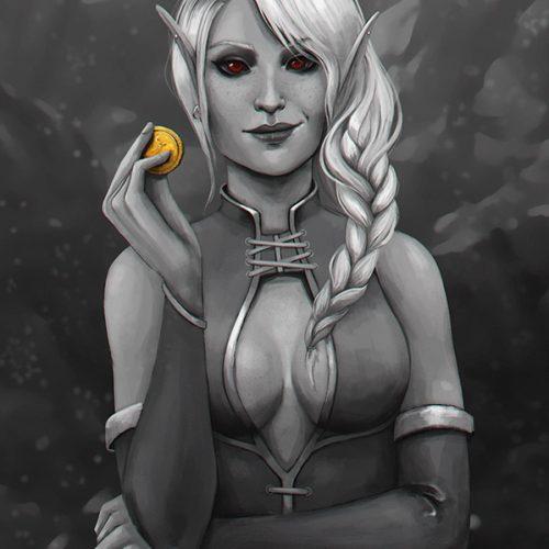 elder scrolls online, eso, female elf portrait, white hair, braided hair, treasure hunter, coin, red eyes, dunmer, darkelf, digital painting, character portrait, fantasy, commission, portfolio