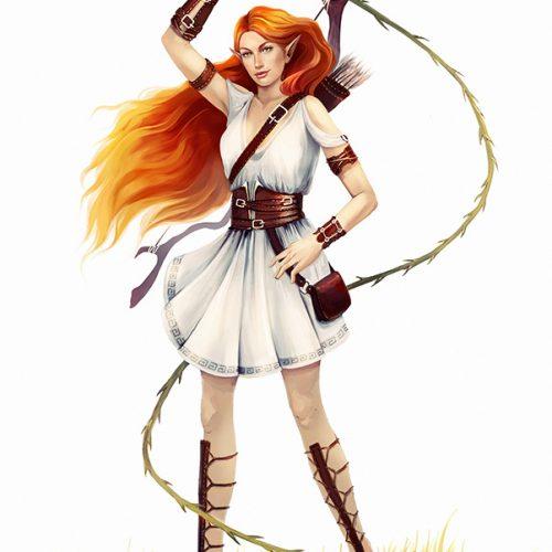 character sheet, concept, design, redhair, long hair, whip, elf, female elf, adventurer, rpg, commission, digital painting, portrait