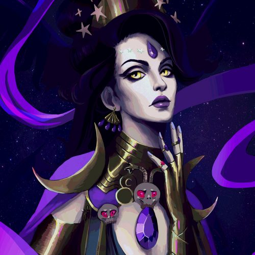 hades, nyx, fanart, character closeup, night goddess, dark magic, evil queen, digital painting, female portrait, jewelry,