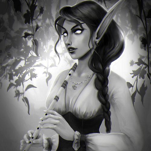 blood elf, female portrait, long ears, dark hair, braided hair, flute, playing plute, corset, digital painting, fantasy character, commission, portfolio