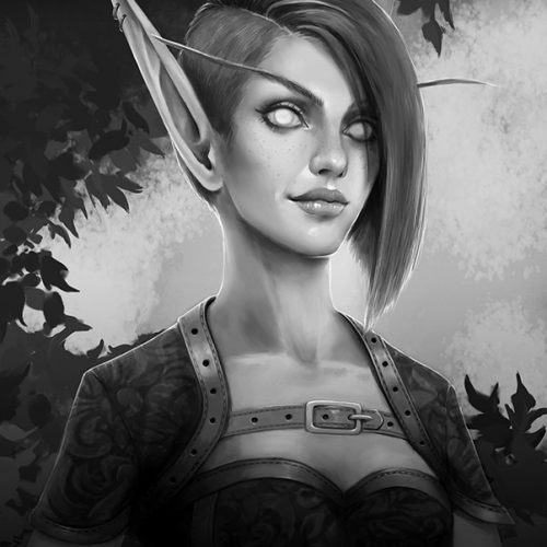 blood elf female, bloodelf, short hair, side cut, long ears, corset, rogue, digital painting, commission, wow, world of warcraft, mmo rpg, fantasy portrait,