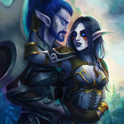 night elves, elf, wow, world of warcraft, couple, valentines, character portrait, romantic, digital painting, portfolio, commission, blue, dark hair, female character, male character, warrior