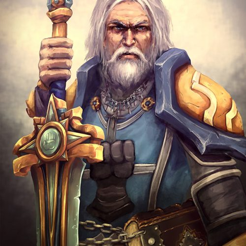 old paladin, wow, world of warcraft, fanart, gray hair, contact, warrior, giant sword, white beard, commission, portfolio, digital painting, rough sketch, speedpainting, drawing, fantasy portait