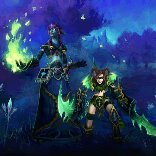 adventure, wow, world of warcraft, portrait, commission, couple, temamates, druid, rogue, healing spell, ready for battle, arena, pvp, night, darkness, digital painting, fantasy characters